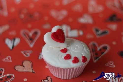 تزیین کاپ کیک با طرح قلب