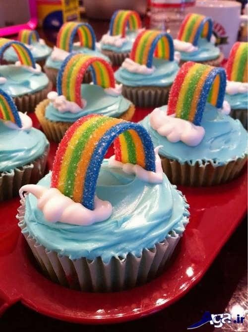 تزیین کاپ کیک به شکا رنگین کمان
