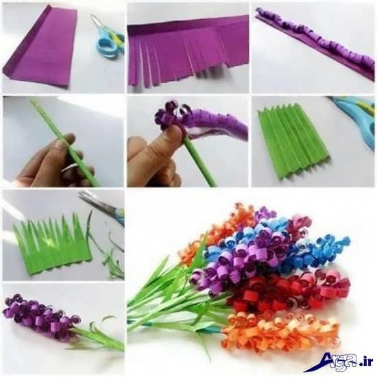 ساخت کاردستی گلهای زیبا با کاغذ رنگی