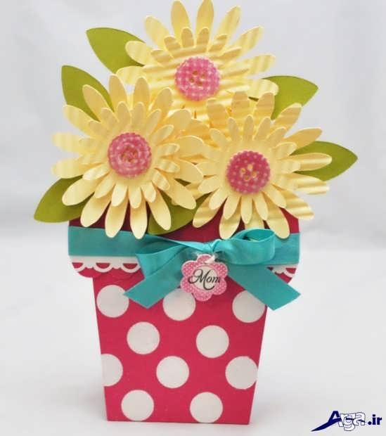 کاردستی گلدان گل با مقوا