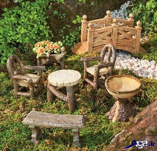 تزیین خلاقانه باغچه با نیمکت های چوبی