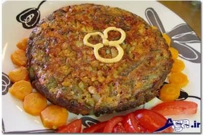 مراحل پخت کوکوی مقوی لوبیا سبز