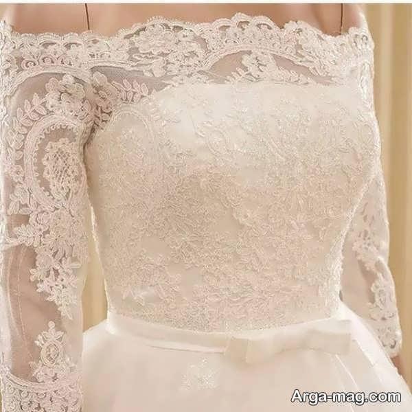 مدل لباس عروس گیپور آستین دار