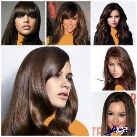 انواع مدل رنگ موی قهوه ای تیره