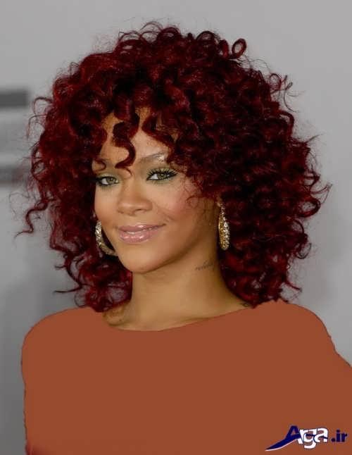مدل موی فر با رنگ عنابی
