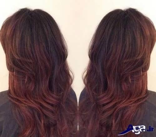 مدل مو بلند با رنگ عنابی زیبا