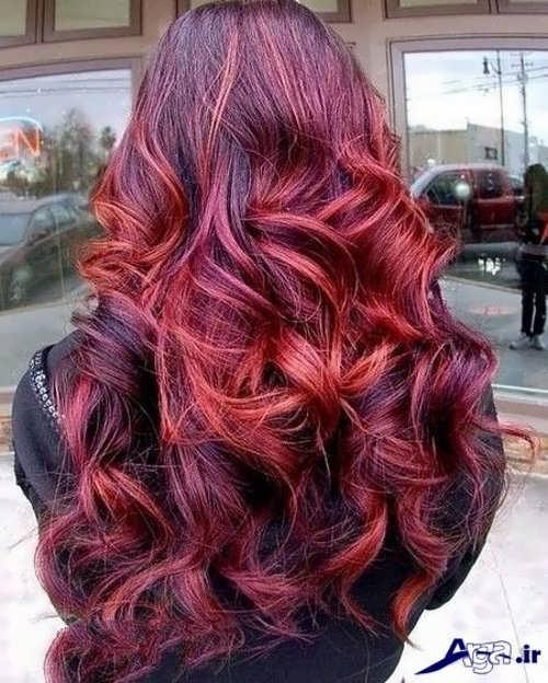 مدل رنگ موی عنابی با هایلایت