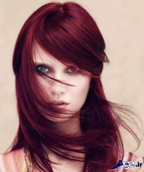 مدل مو با رنگ مو عنابی