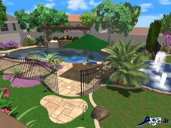 طراحی شیک فضای سبز حیاط