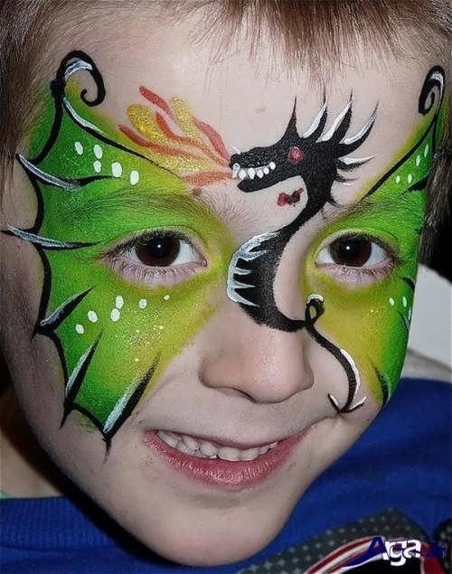 مدل نقاشی صورت کودک با طرح اژدها