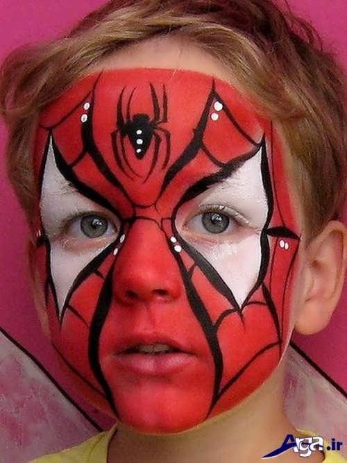 نقاشی صورت کودک به شکل مرد عنکبوتی
