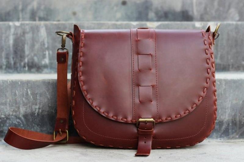 کیف چرم دست دوز با الگو