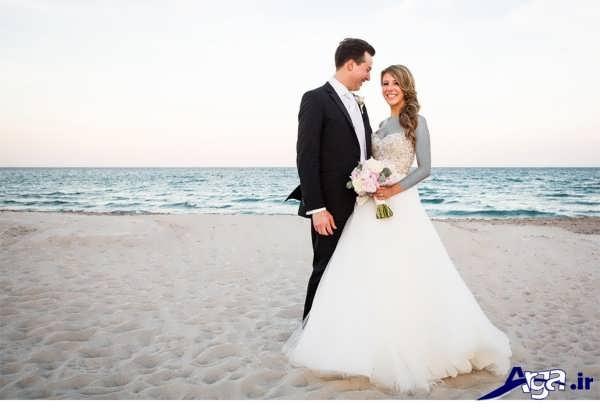 عکس عروس و داماد در ساحل دریا