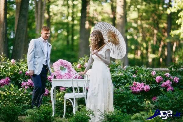 مدل جدید عکس عروس و داماد در باغ