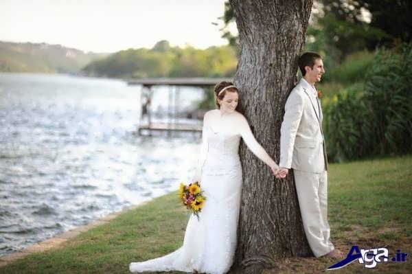 ژست عکس عروس و داماد د رطبیعت