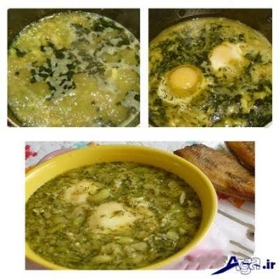 ریختن تخم مرغ در خورشت باقالا
