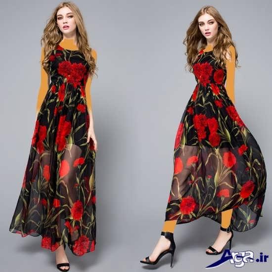 لباس مجلسی حریر بلند گل دار