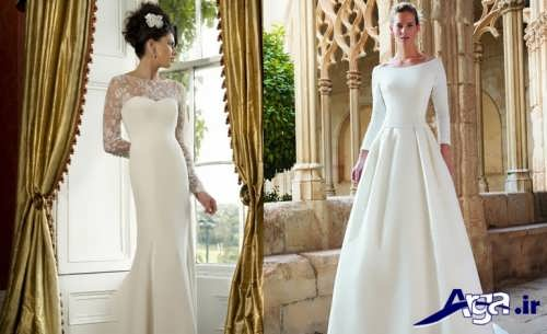 مدل لباس عروس پوشیده و دکلته اروپایی