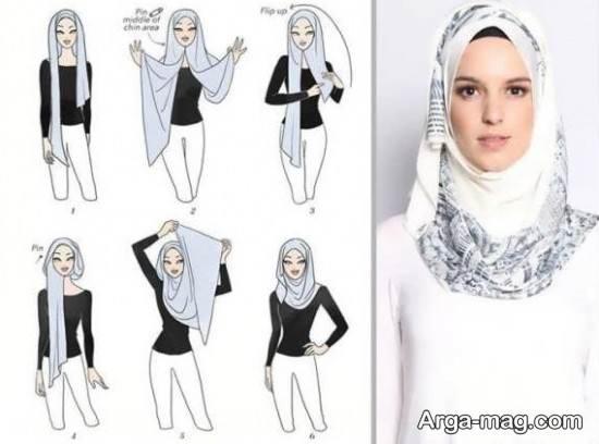آموزش بستن روسری طرح دار