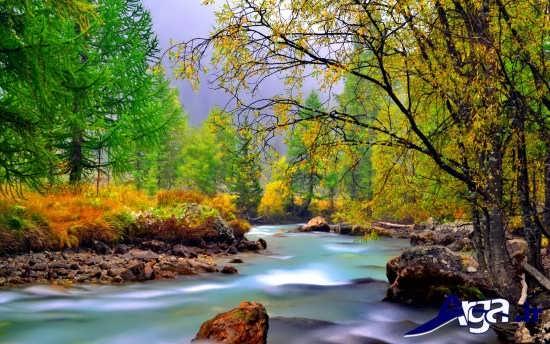 طبیعت رودخانه در فصل پاییزی