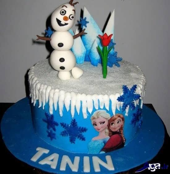تزیین کیک تولد با تم پرنسس یخی