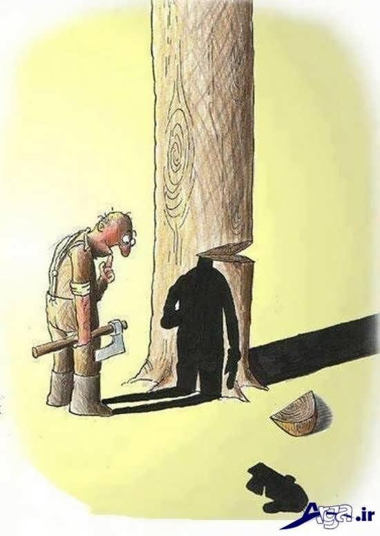 عکس های مفهومی از قطع درختان