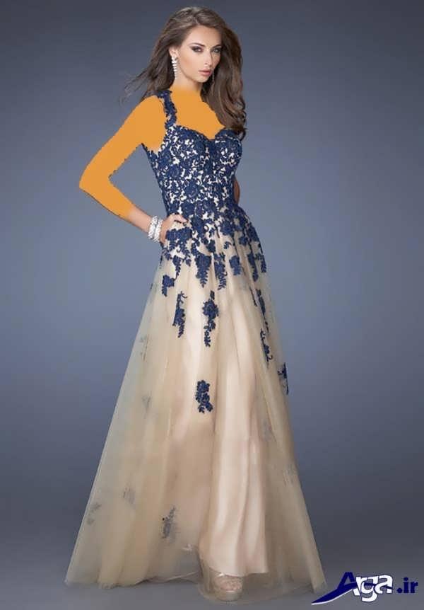 مدل لباس مجلسی دانتل آبی