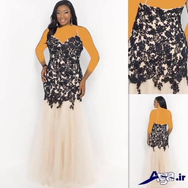 لباس مجلسی دانتل برای خانم های چاق