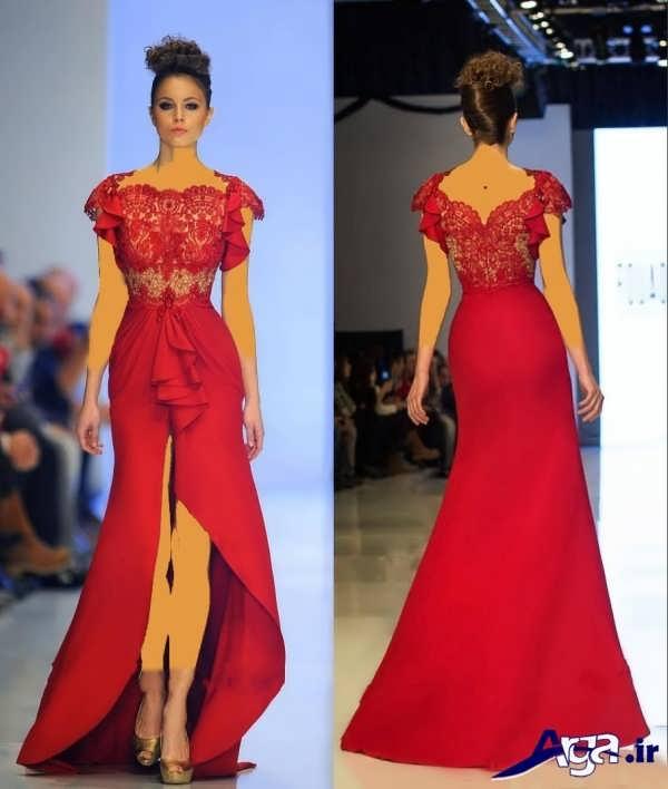 لباس مجلسی دانتل زنانه قرمز