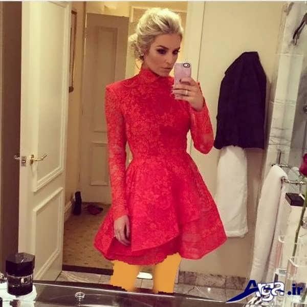 مدل لباس مجلسی دانتل قرمز