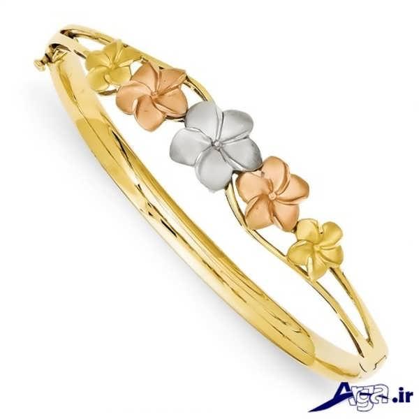 مدل دستبند طلا طرح فانتزی گل