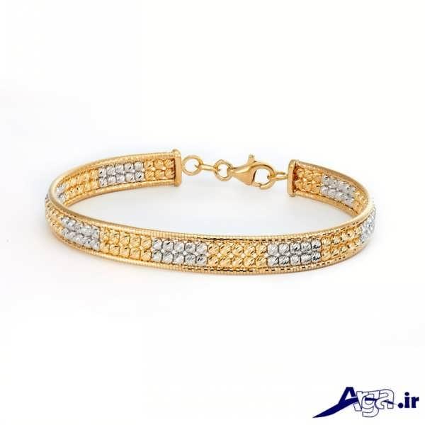 مدل دستبند طلا ترکیب زرد و سفید