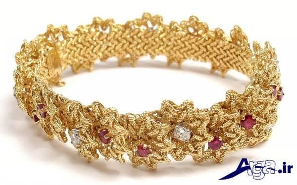مدل دستبند طلا طرح گل