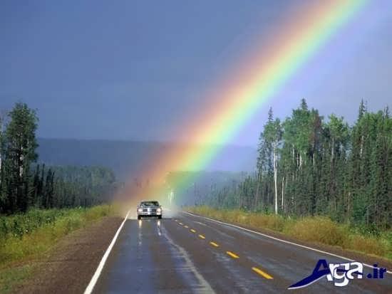 عکس رنگین کمان در جاده