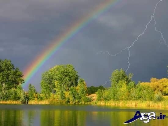 عکس رنگین کمان برفراز آب ها