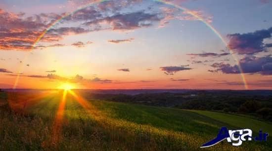 عکس های رنگین کمان در غروب خورشید