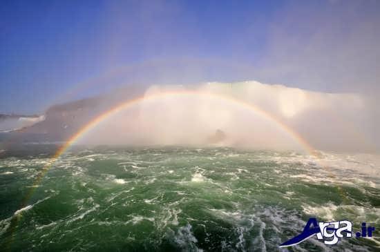 عکس رنگین کمان در دریای خروشان