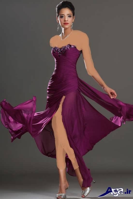لباس مجلسی بلند بنفش دخترانه