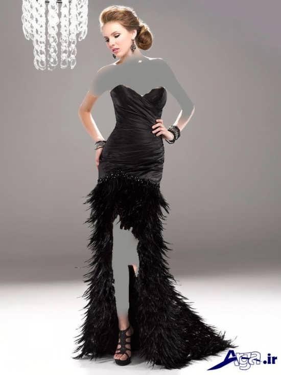 لباس مجلسی دکلته مشکی بلند دخترانه