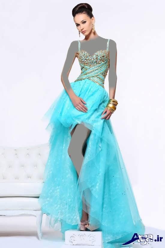 لباس مجلسی آبی ملایم بلند دخترانه