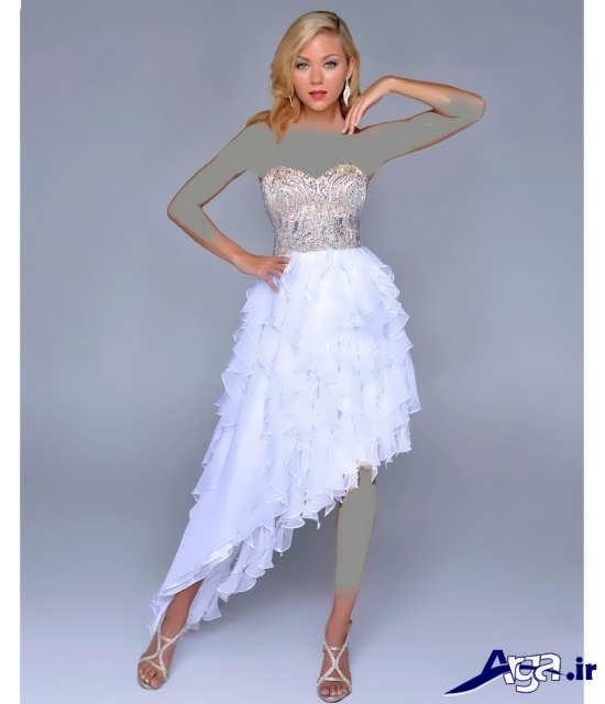 مدل لباس مجلسی بلند سفید زیبای دخترانه