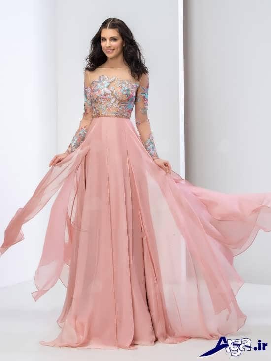لباس مجلسی بلند دخترانه گلبهی