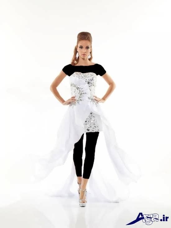 لباس مجلسی بلند دخترانه سفید