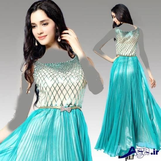 لباس مجلسی بلند سبز آبی دخترانه