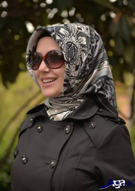 مدل بستن روسری چهارگوش برای دختران
