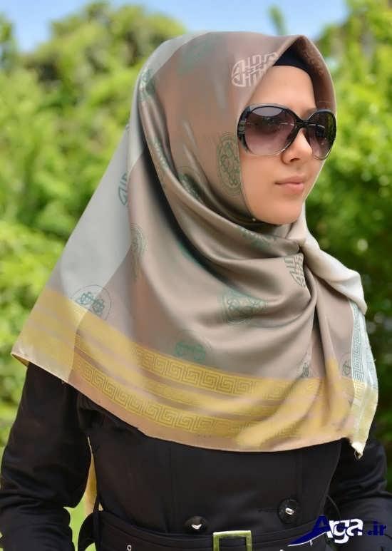 مدل بستن روسری چهارگوش حجاب