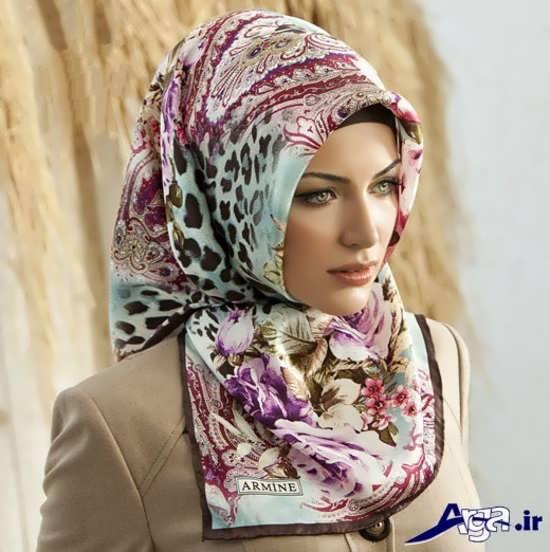 مدل بستن روسری چهارگوش بزرگ
