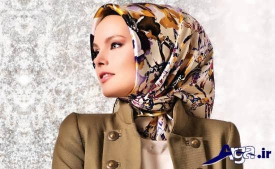 روش بستن روسری چهارگوش مدرن