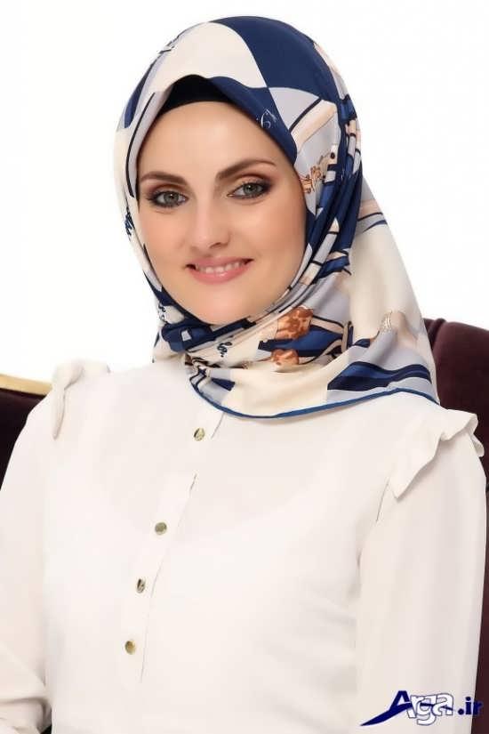 مدل بستن روسری چهارگوش مدرن