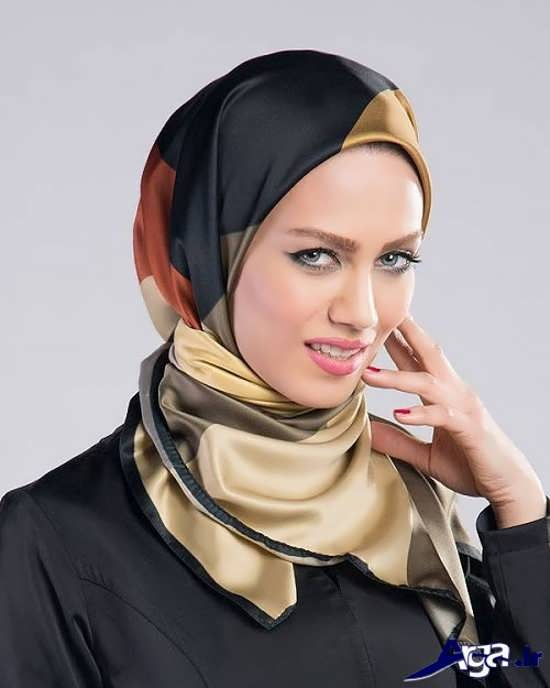 مدل بستن روسری چهارگوش جذاب